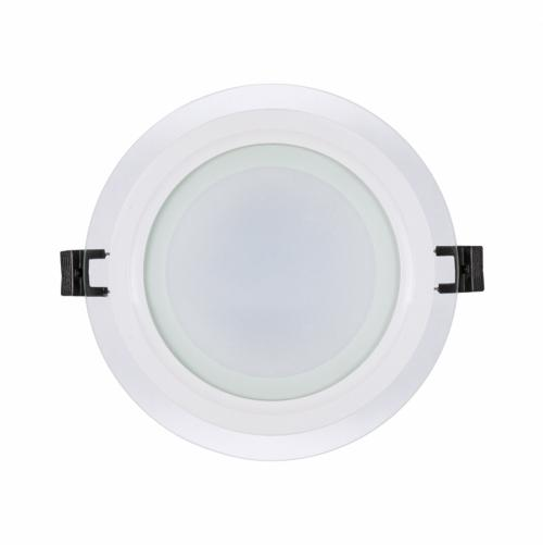 ULTRALUX - LPRG1242 LED glass panel for building-in round, 12W, 4200K, 220V AC, neutral light, IP44, SMD2835
