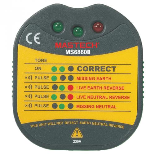 MASTECH - Тестер за контакт MS6860D (фаза, нула и заземяване)