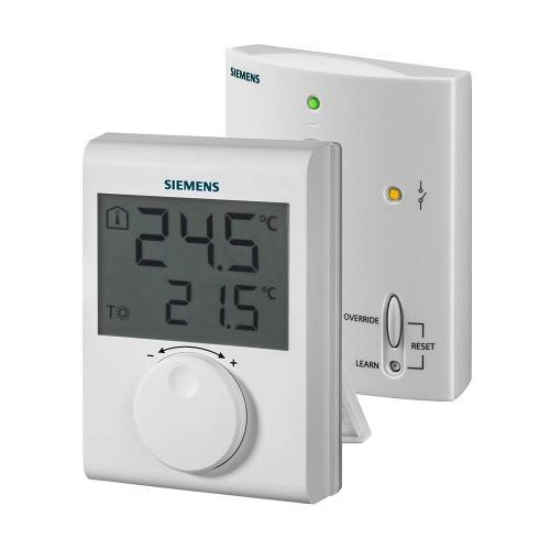 SIEMENS - Безжичен стаен термостат с LCD дислей в комплект предавател/приемник захранване на термостата 3V RDH100RF/SET
