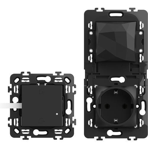 BTICINO - RG4501C Стартов пакет Smart (Свързан контакт с Gateway + Master ключ БЕЗжичен) с носещи рамки цвят Черен Classia Bticino Netatmo