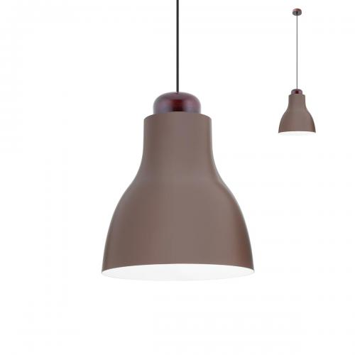 REDO GROUP - pendnat luminaire CADEIRA  01-1606 SU E27 D330 SHINY COFFE+MATT WHITEINSIDE+DARK WOOD