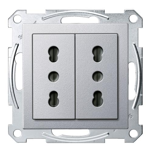SCHNEIDER ELECTRIC - MTN2162-0460 Механизъм 2х контакт италиански с лицев панел алуминий System M