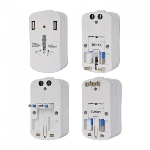 V-TAC - SKU:8704 UNIVERSAL ADAPTOR WITH OVERLOAD PROTECTION, DOUBLE BLISTER PACKAGE WITH 2USB 2A
