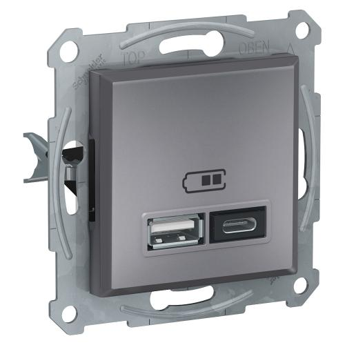 SCHNEIDER ELECTRIC - USB  зарядно A+C стомана Аsfora EPH2700362