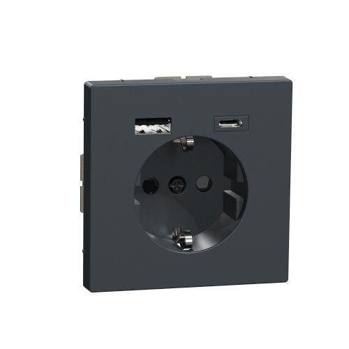 SCHNEIDER ELECTRIC - MTN2367-6034 Механизъм контакт шуко 16A + USB A+C 3A 15W с лицев панел антрацит System Design
