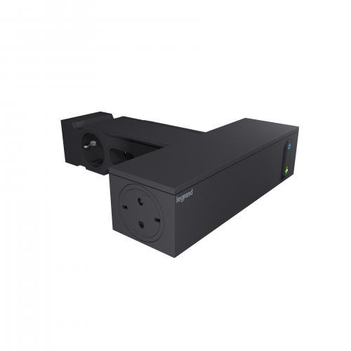 LEGRAND - 694595 Разклонител TV ЧЕРЕН 4x2P+E + 4x2P с кабел 2 метра с гръмозащита Corner Legrand