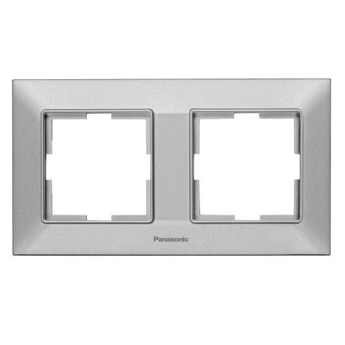 PANASONIC - Рамка двойна хоризонтална сиво PANASONIC Arkedia slim  WNTF0802-2SL