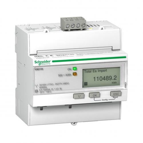 SCHNEIDER ELECTRIC - Трифазен електромер ДИРЕКТНО мерене на ел. енергия Acti 9 iEM, Modbus, до 4 тарифи, DIN монтаж 5 мод 63A MID SE A9MEM3155