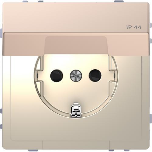 SCHNEIDER ELECTRIC - MTN2314-6051 Механизъм контакт шуко с лицев панел IP44 метален шампанско System Design