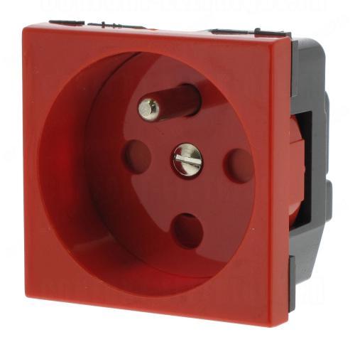 LEGRAND - 77114  Контакт ФРЕНСКИ стандарт c тампер защита 16А мод. цвят червен Mosaic