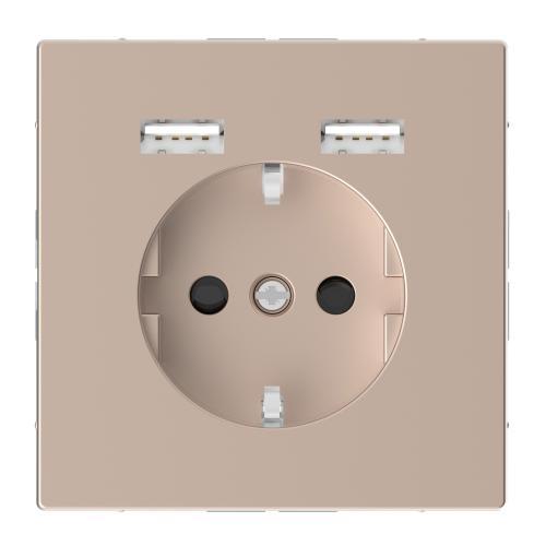 SCHNEIDER ELECTRIC - MTN2366-6051 Механизъм контакт шуко 16А + 2хUSB charger 2400mA с лицев панел метален шампанско System Design