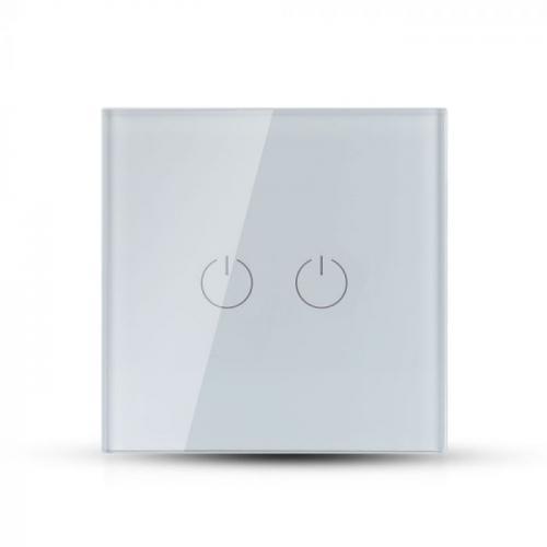V-TAC - Двоен Ключ Touch Бял Стъкло SKU: 8357 VT-5112