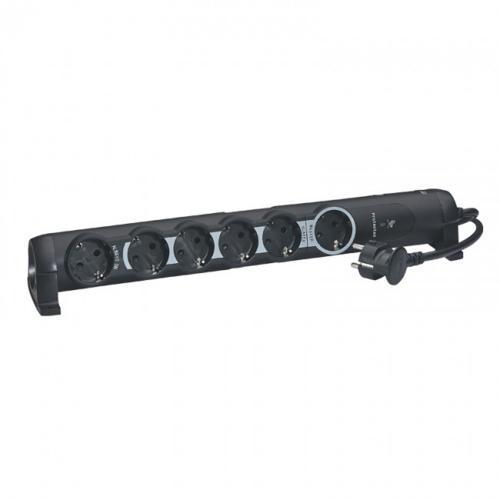 LEGRAND - 694613 Разклонител 6 гнезда с кабел 1.5м Черен MASTER-SLAVE функция