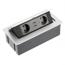 GTV Lighting - Контакт за вграждане в мебел метал сив AE-PBSUC2GS-53 контакт тип шуко 2бр.+ USB 2бр